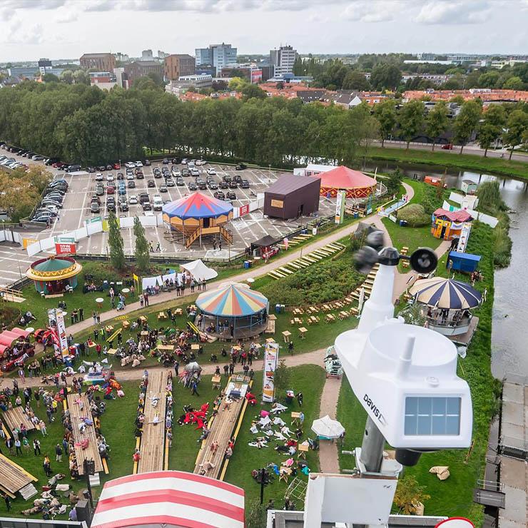 Windmonitoring crane-act Stadsfestival Zwolle